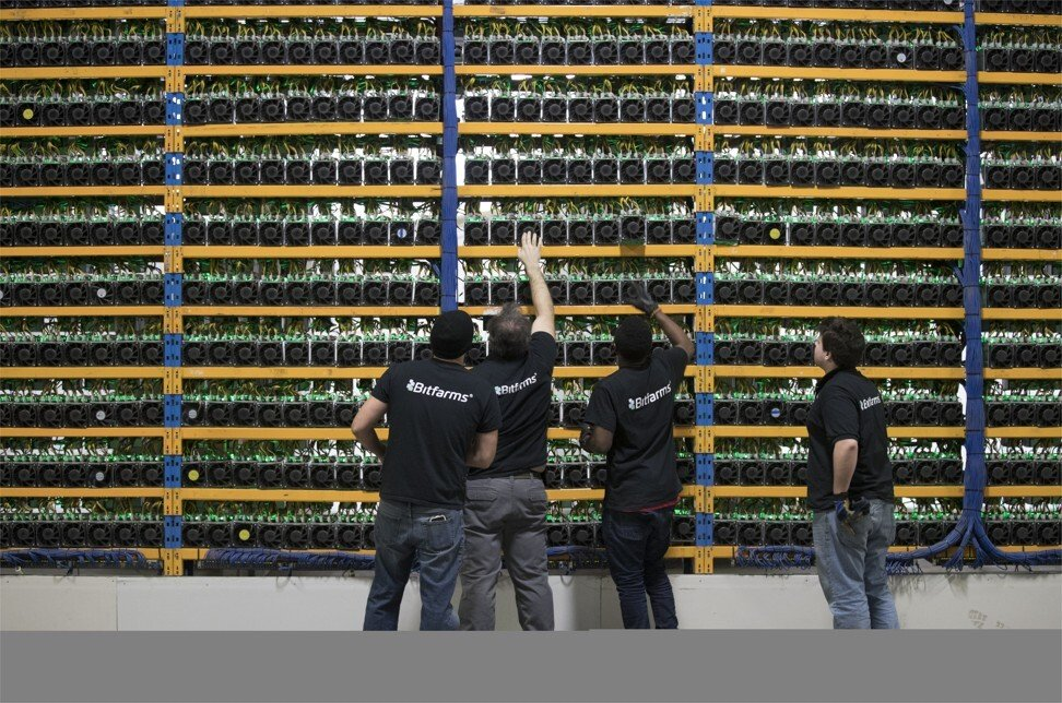 Cryptocurrency mining machines at the Bitfarms farm in Farnham, in Canada's Quebec province, on Wednesday, January 24, 2018. Photo: Bloomberg