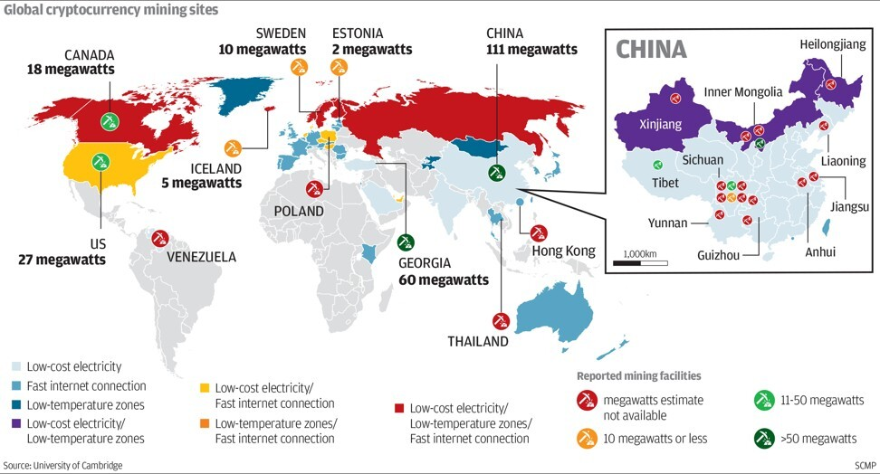 Global cryptocurrency mining sites. SCMP Graphics