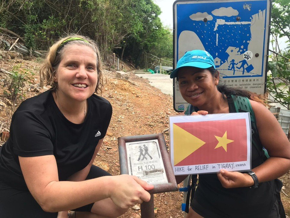 In April 2021, Amanda Lote (left) and Enno Jhena Davait completed a 45-kilometre hike to raise funds for those impacted by the Tigray conflict in Ethiopia.