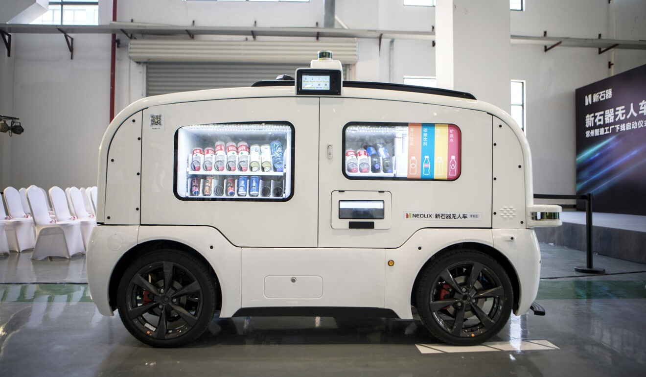 Beverages sit inside a Neolix autonomous vending-machine vehicle during a launch event at the company's facility in Changzhou, Jiangsu province, China, on May 24, 2019. Photo: Bloomberg