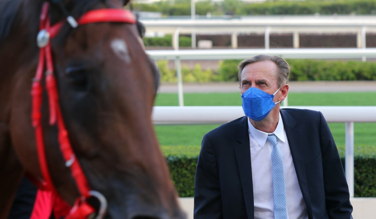 Trainer John Size looks over Beauty Fit after the galloper's recent victory.