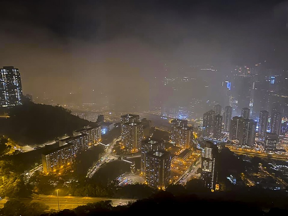 The view in West Kowloon was shrouded by smoke following the fire. Photo: Facebook