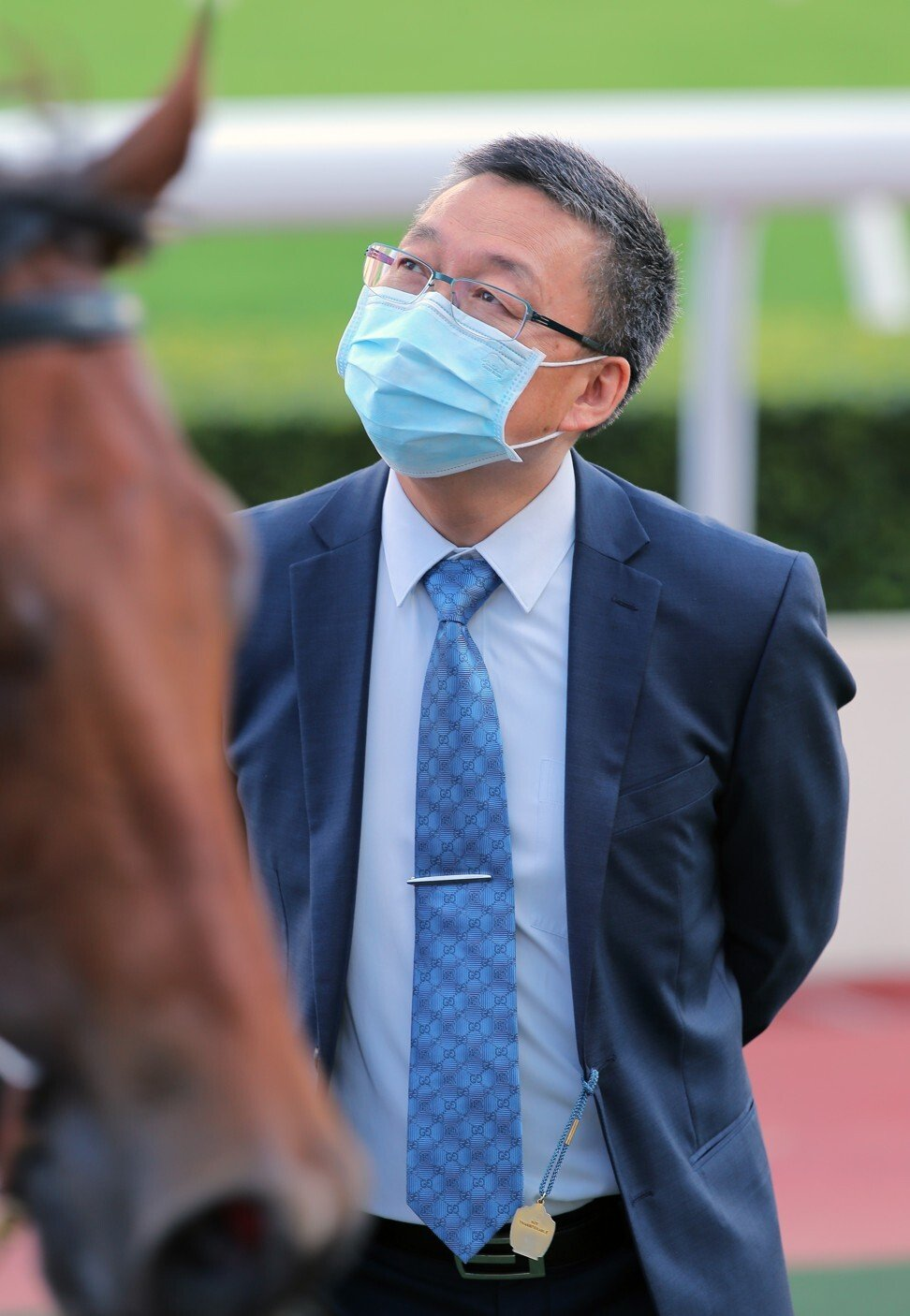 Francis Lui looks over Valiant Dream after a victory at Sha Tin last month.