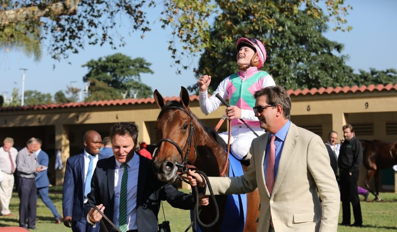 Luke Ferraris celebrates winning his first Group One in South Africa. Photo: Twitter