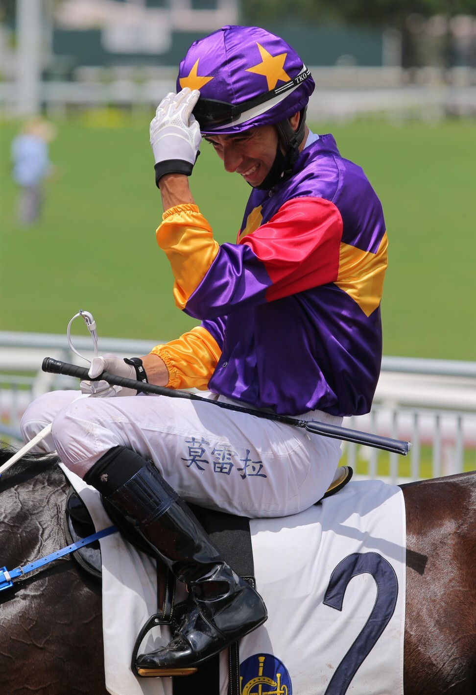 Joao Moreira feels the heat after winning aboard Lucky Quality at Sha Tin on Sunday.