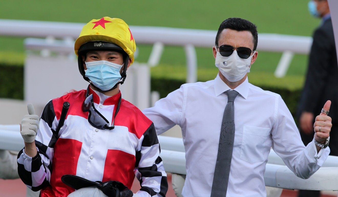 Jockey Jerry Chau and trainer Douglas Whyte celebrate their double on Thursday.
