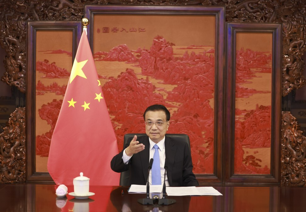 Chinese Premier Li Keqiang holds a virtual dialogue with UK business leaders in Beijing, on July 6, 2021. Photo: Xinhua
