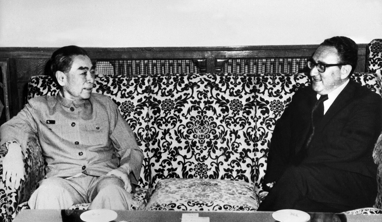 The late Zhou Enlai (left), then Chinese premier, and Henry Kissinger in Beijing in July 1971. Photo: AFP