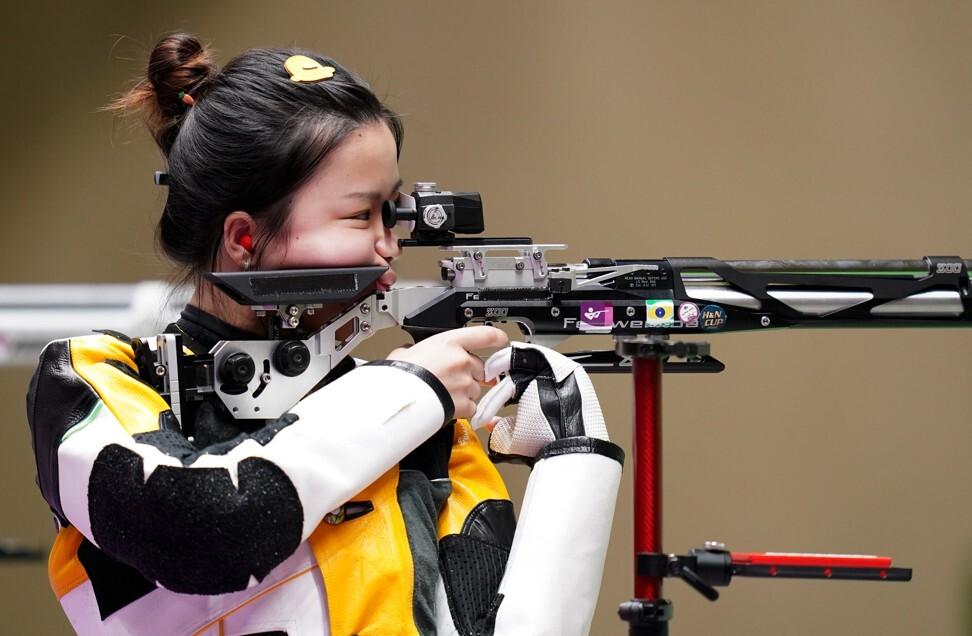 Yang Qian of China competes during the Tokyo 2020 women's 10m air rifle final. Photo: Xinhua