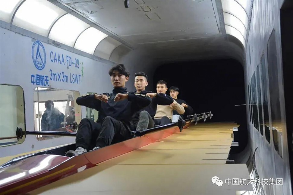 China's rowing team was also put through its paces in a wind tunnel. Photo: CASC