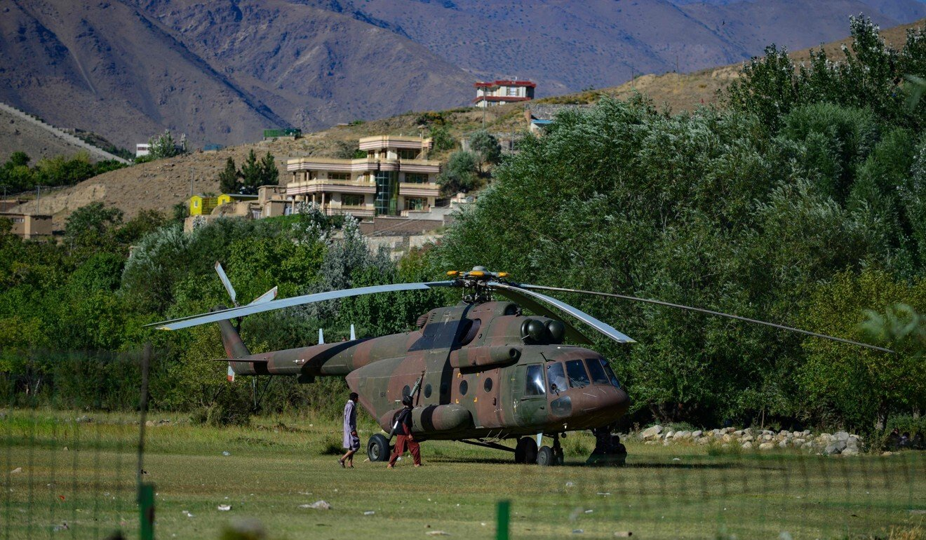 An Afghan military helicopter in Panjshir province, Afghanistan. Photo: AFP