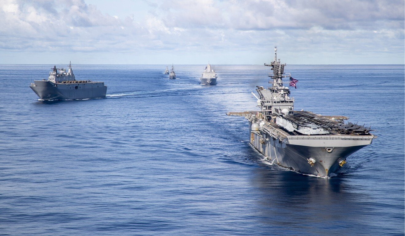 Ships from the US, Australian and Japanese defence forces conduct maritime manoeuvres during the US-led Large Scale Global Exercise 21. File photo: RAN/LSIS