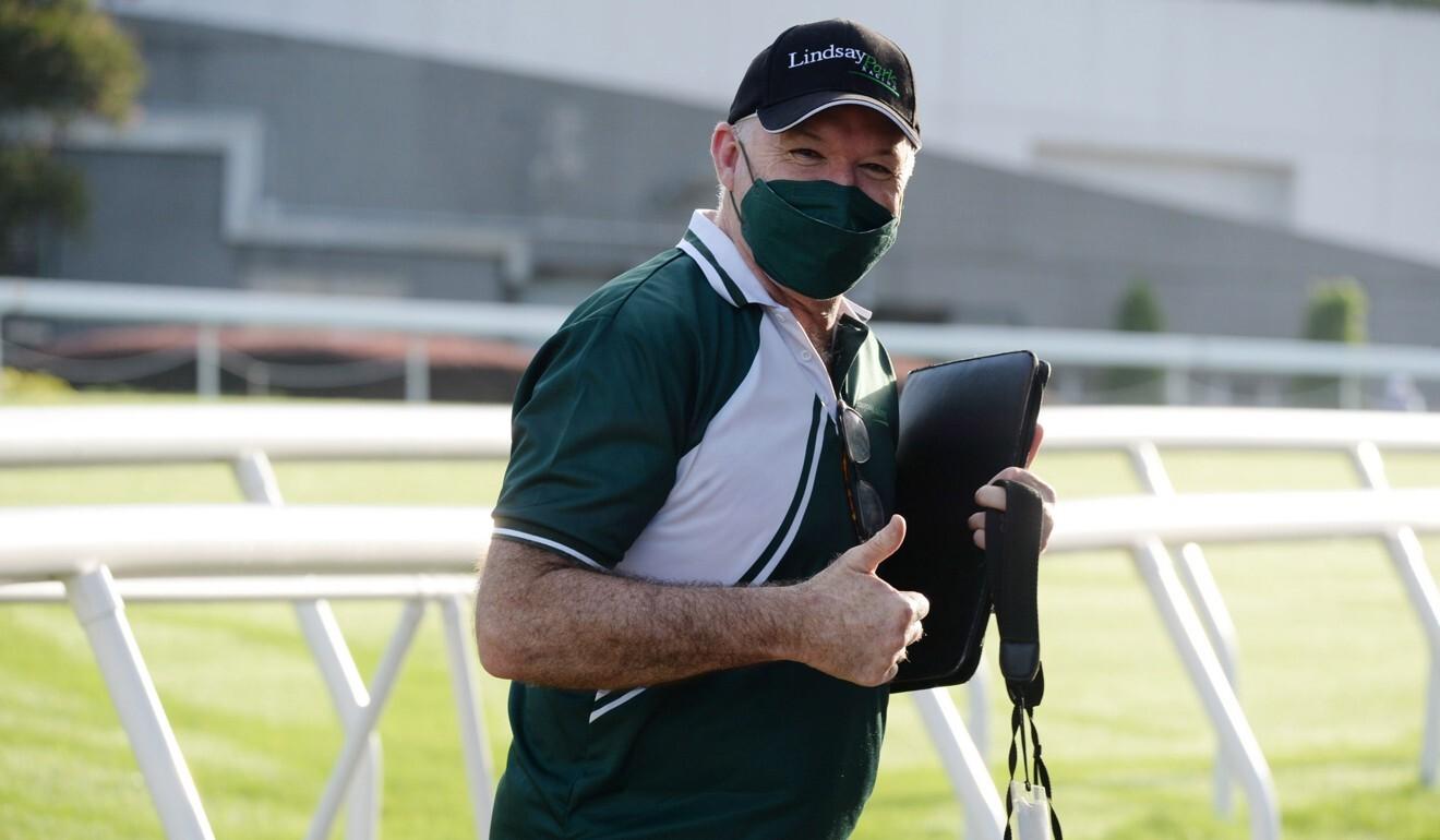 Trainer David Hayes at Sha Tin trackwork on Tuesday.
