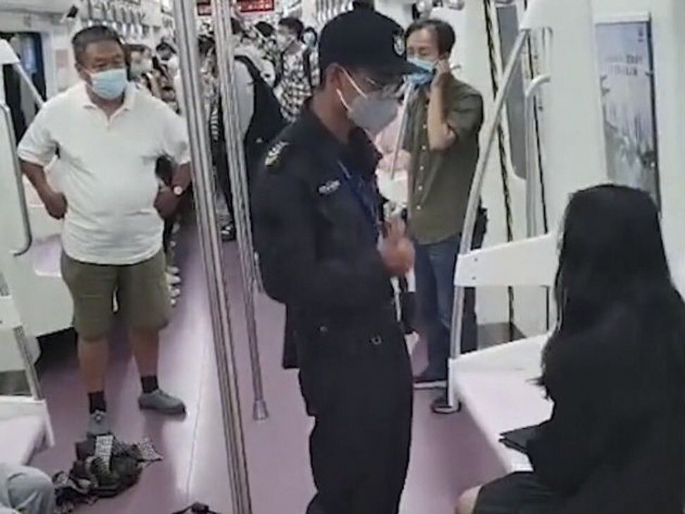 The woman was involved in a dispute with other passengers before she was dragged from the train. Photo: Handout