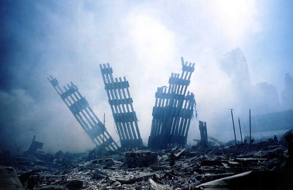 The rubble of the World Trade Centre in New York smoulders following a terrorist attack on September 11, 2001 in New York. China was quick to express solidarity and willingness to work with the US to defeat terrorism. Photo: AFP