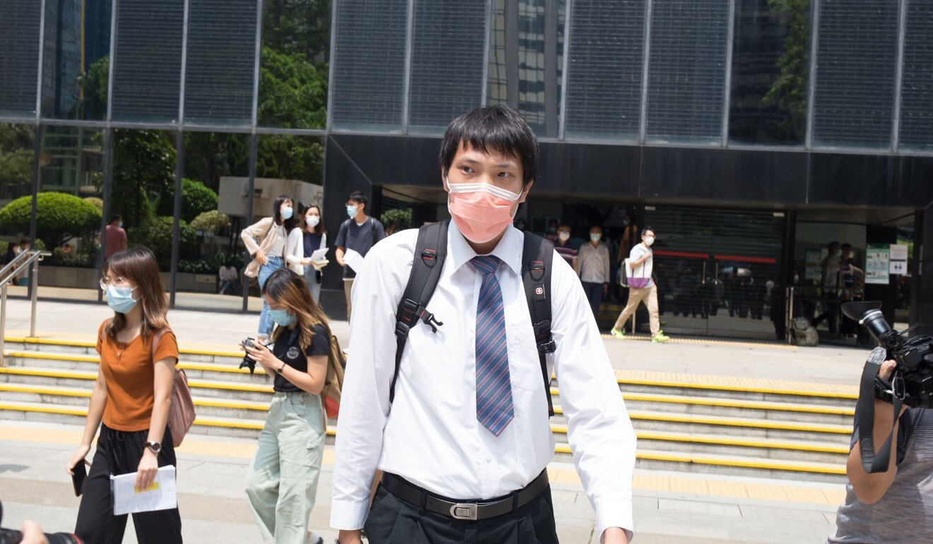 Yau Wang-tat leaves the District Court after pleading guilty to taking part in an unlawful assembly. Photo: Brian Wong