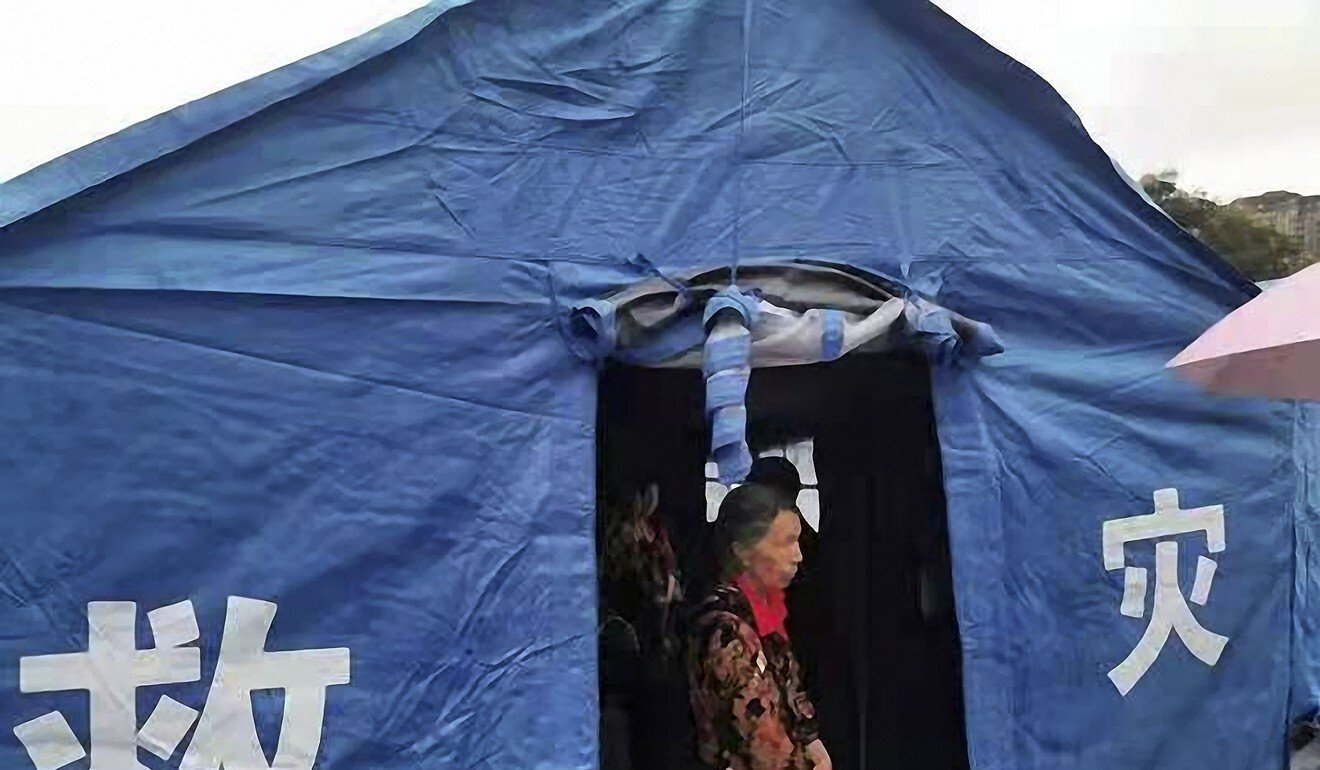 An emergency tent for people evacuated after the earthquake struck Luxian county in Sichuan province, southwest China. Photo: Xinhua