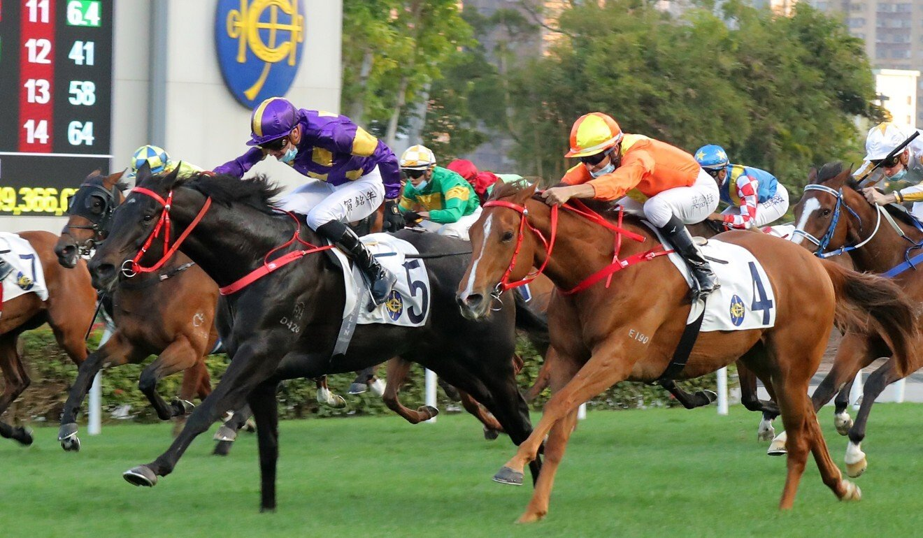 Tempest Express (left) salutes at Sha Tin in February.