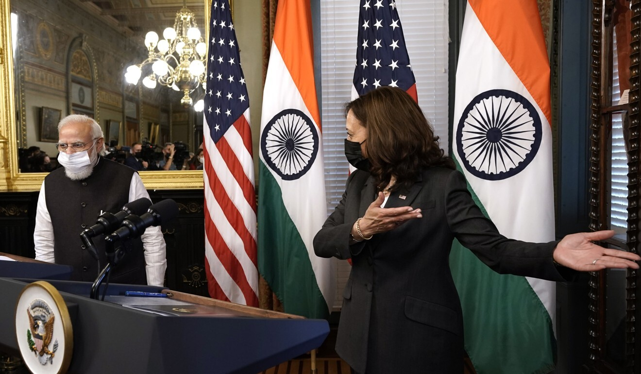 US Vice-President Kamala Harris welcoming Indian Prime Minister Narendra Modi before their meeting in Washington on Thursday. Photo: EPA-EFE