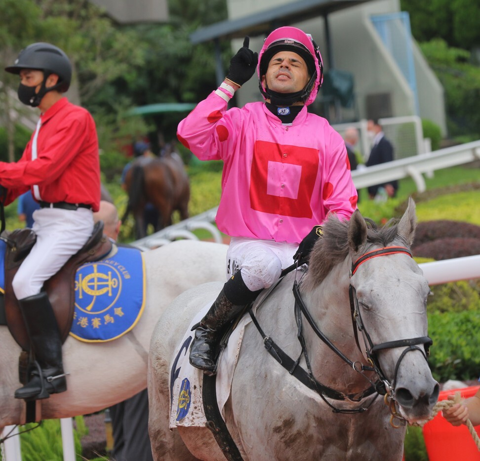 Ruan Maia soaks up his victory aboard Chancheng Prince on Sunday.