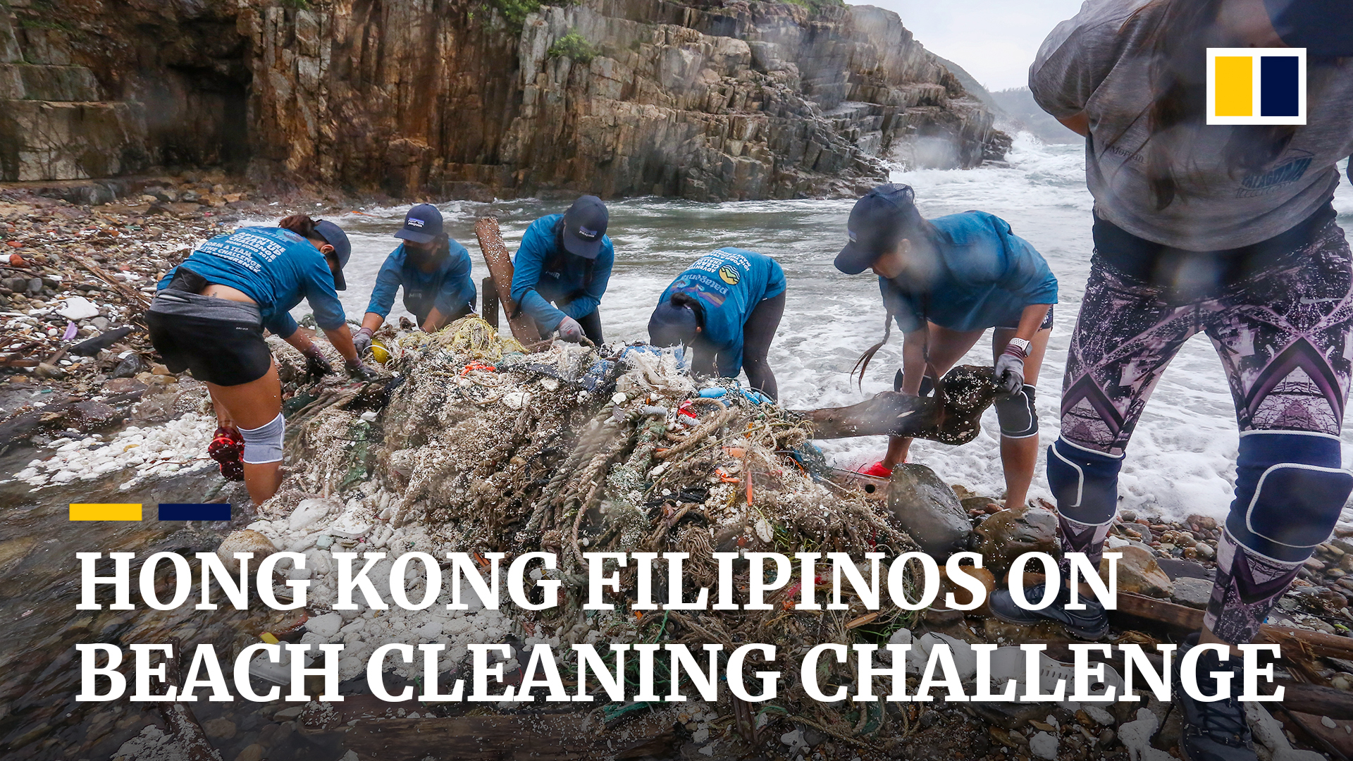 Domestic helpers tackle Hong Kong beach plastic pollution in extreme