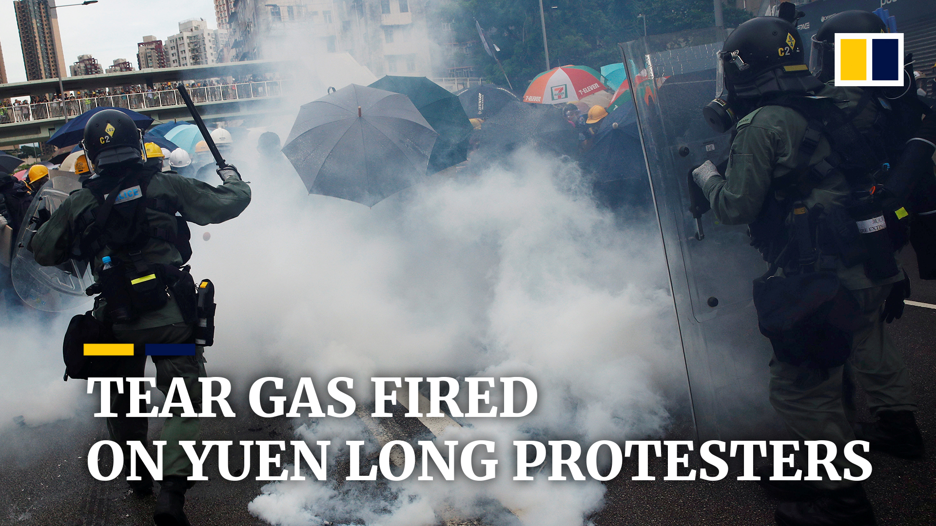 Anti-riot vehicles equipped with water cannons to begin road
