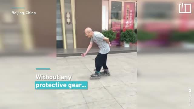 Chinese grandpa's a roller-skating king