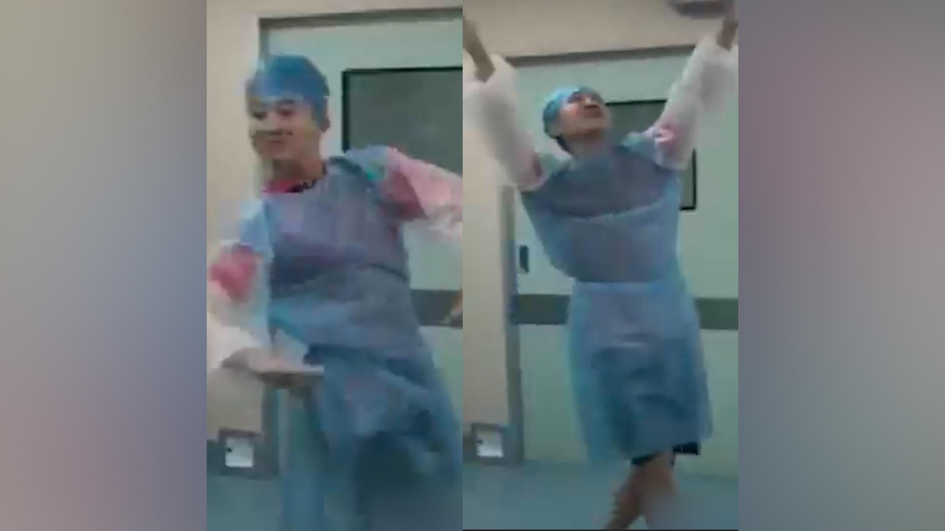 Caring husband dances to ease wife's labor pains