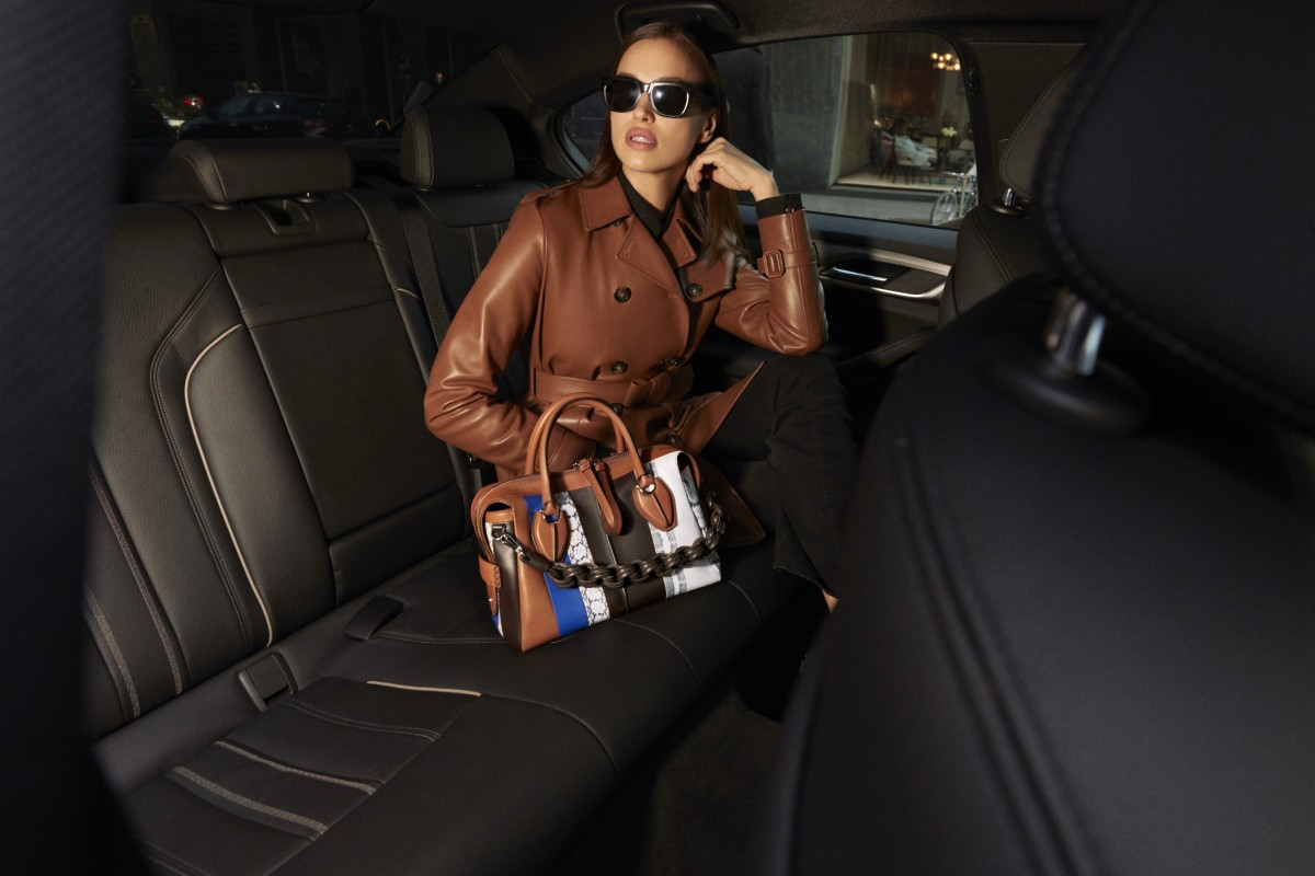 dbd1e37d479 Irina Shayk likes her D-Styling in brown smooth leather with exotic reptile  skin detailing
