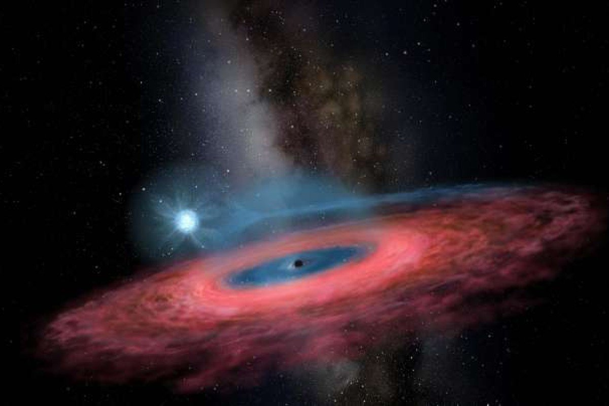 Artist rendition of LB-1, a newly discovered stellar black hole. (Picture: Jingchuan Yu/Beijing Planetarium)