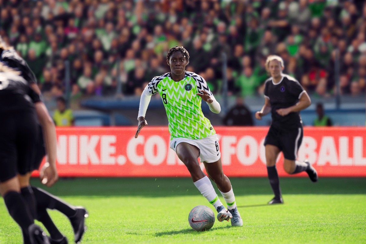 54c343a78 Nigeria's Asisat Oshoala models the Super Falcons kit for the 2019 Women's  World Cup. Photo