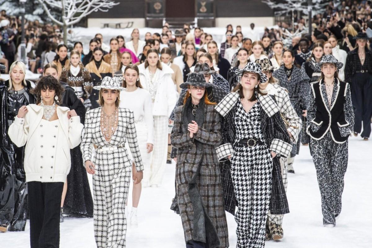 2ee6f4953af Catwalk models present creations during the late German designer Karl  Lagerfeld s final Chanel autumn winter
