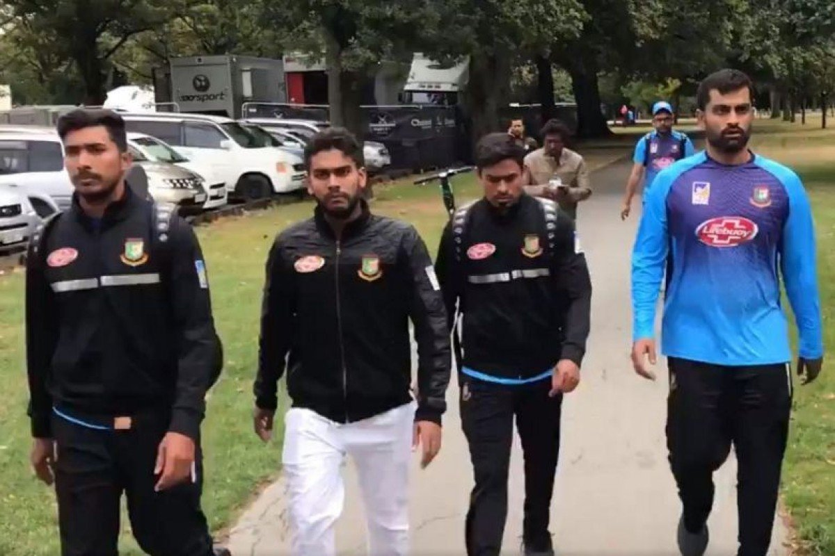Members of the Bangladesh national cricket team flee through the park to escape the New Zealand mosque shooting. Photo: Twitter/Mohammad Isam
