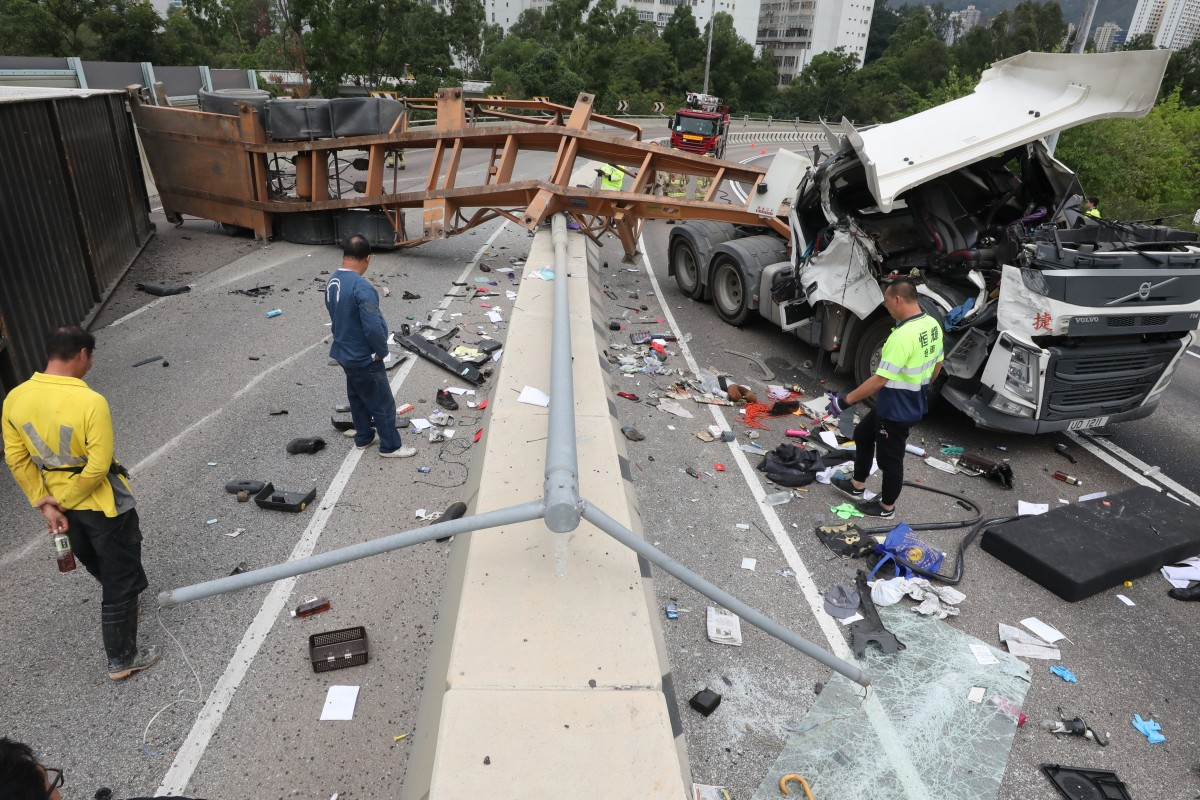 Two truck accidents on Hong Kong's Tuen Mun motorways less than 24