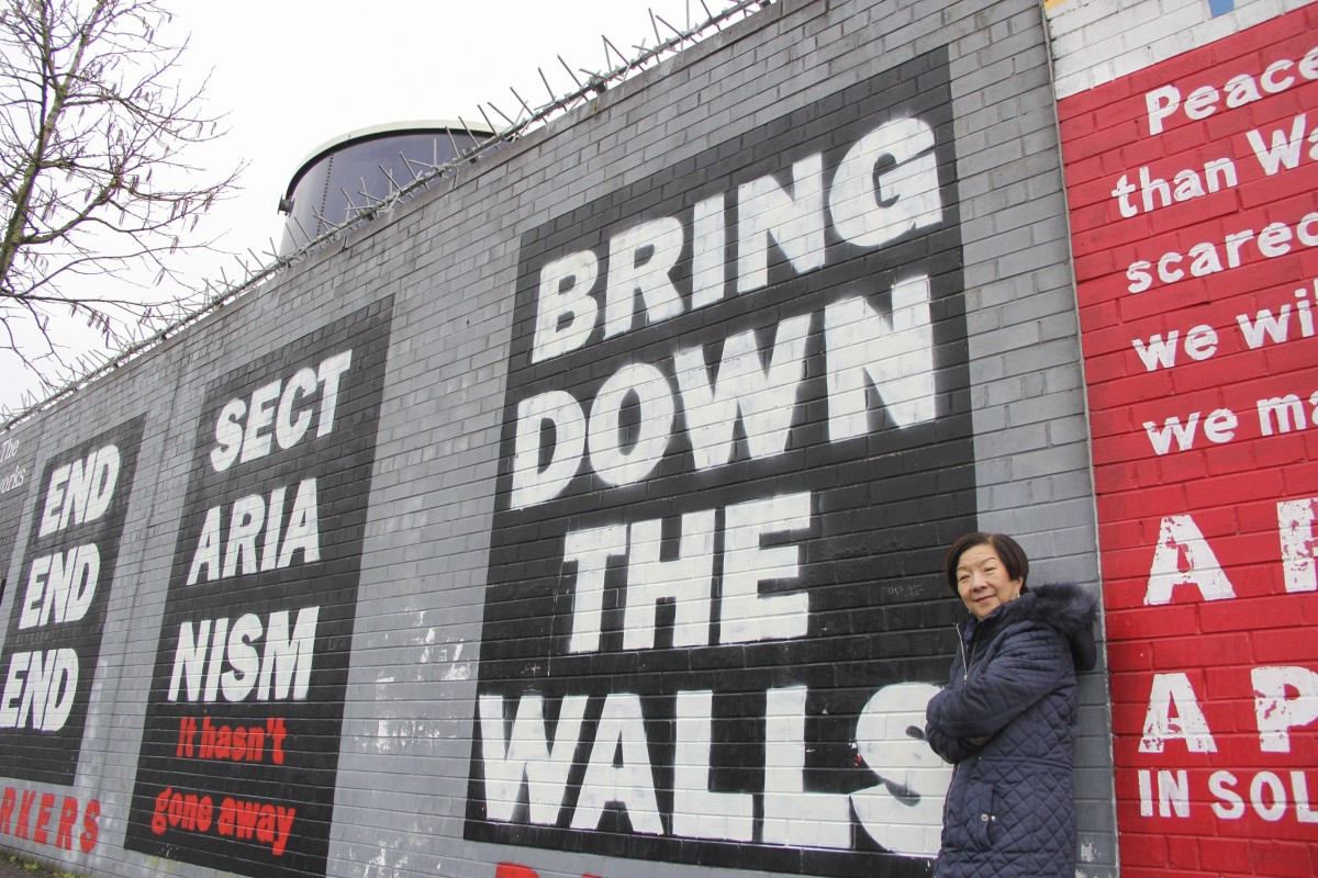 Anna Lo on the Falls Road, in Belfast, Northern Ireland. Photo: Peter