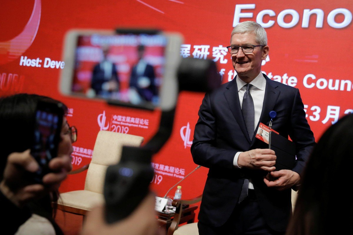 dd198b8c8e34 Apple CEO Tim Cook attends the China Development Forum in Beijing on  Saturday. Photo