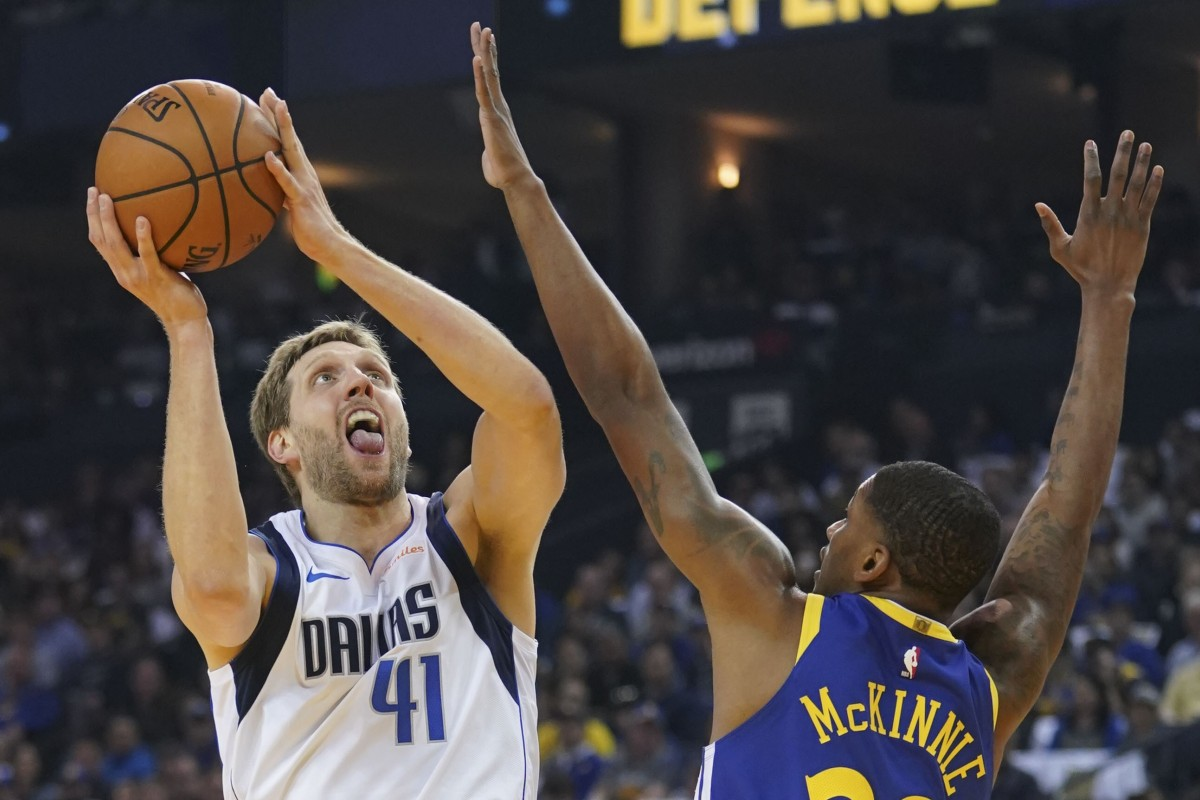 883141d83cb Dallas Mavericks forward Dirk Nowitzki was integral to his side s victory  over the Golden State Warriors