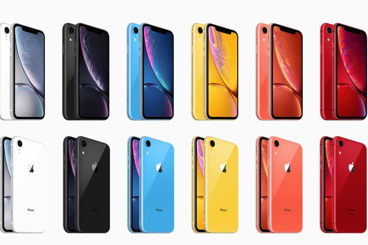 superior quality 6d714 a9353 The Apple XR comes in six different colour options (from left) – white,
