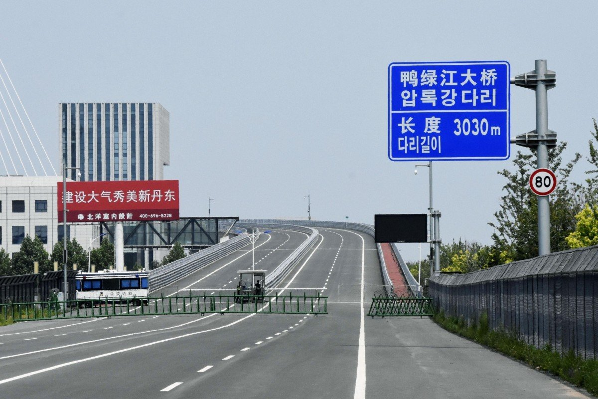 The bridge crosses the Yalu River on the border between China and North Korea. Photo: Kyodo