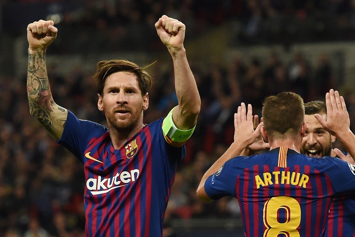 ecf7e115f35 Lionel Messi celebrates Barcelona s third goal against Tottenham Hotspur in  the Champions League last October.