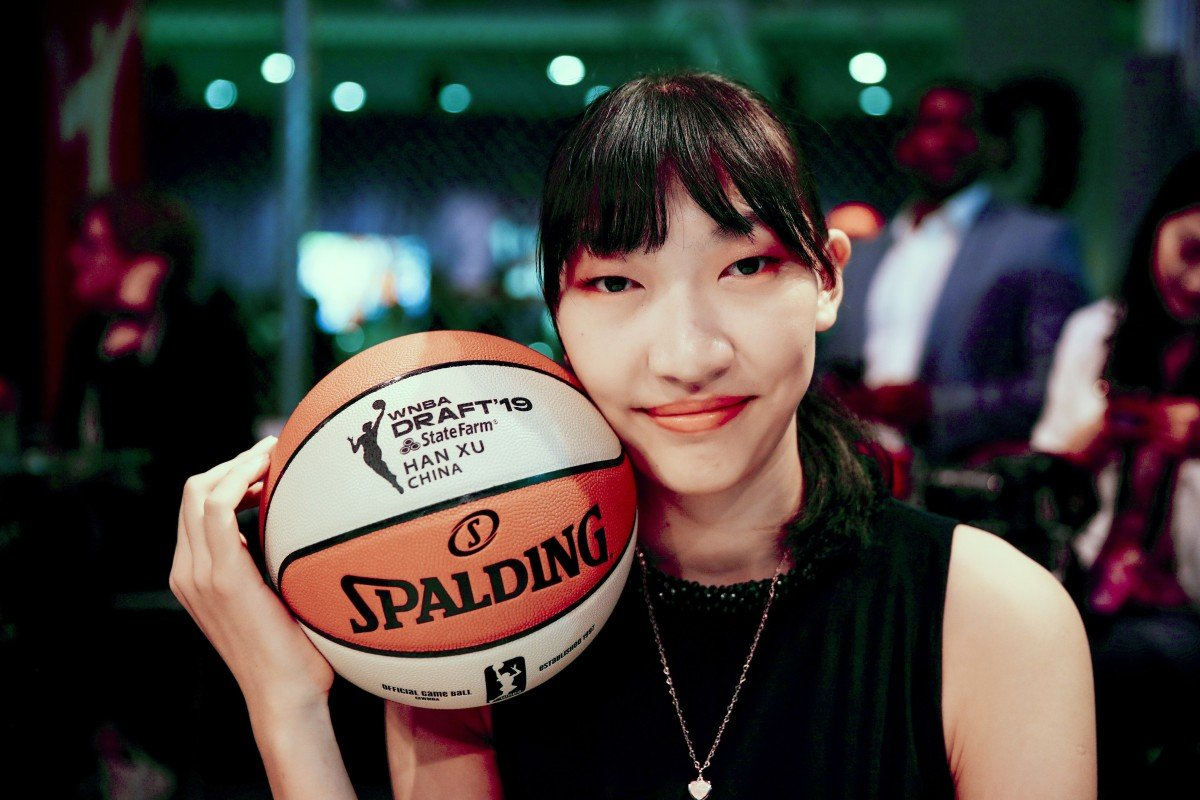 newest collection 71865 e0b1f Han Xu of China before the WNBA women s basketball draft in New York. Photo