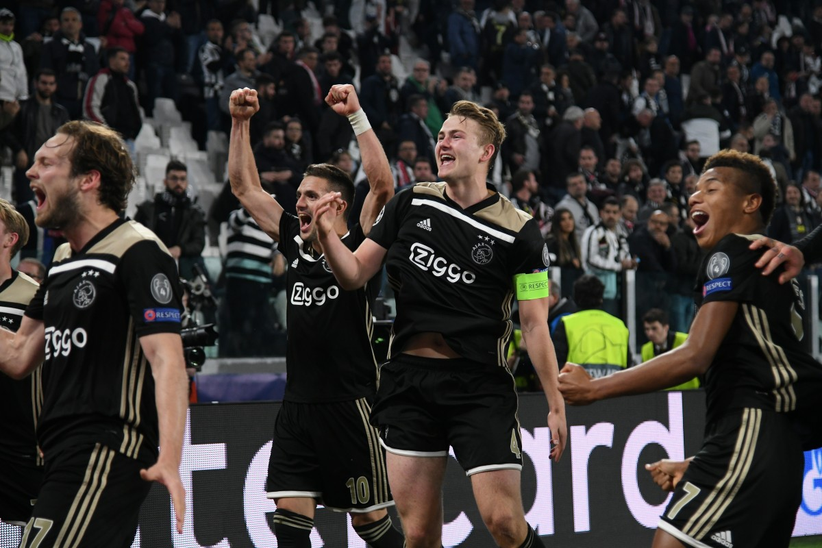 7c56b2a85 Ajax players celebrate victory over Juventus in the Uefa Champions League  quarter-final. Photo