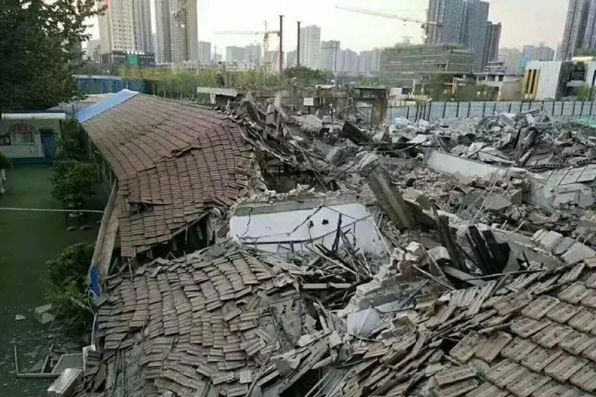 Seven classrooms, four toilet blocks, three kitchens and a first aid room were levelled. Photo: Weibo