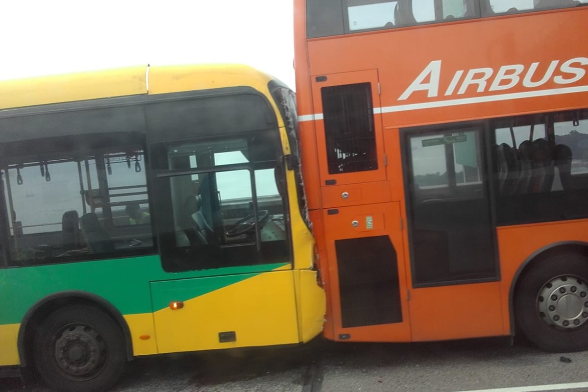Five buses crashed on Tsing Ma Bridge on Sunday at around 4pm. Photo: Facebook