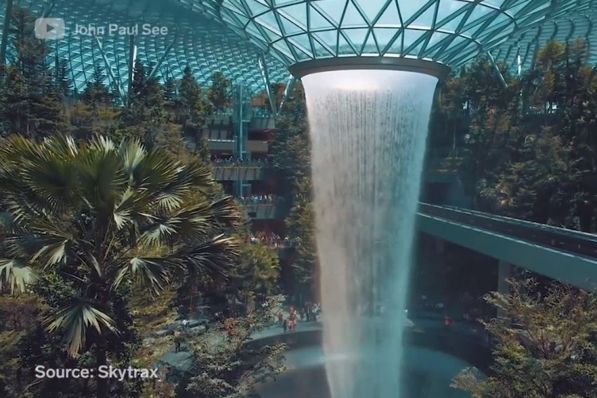 323262fd The HSBC Rain Vortex at the newly-opened Jewel Changi. The cascading funnel  of