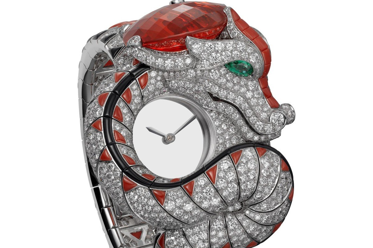 9696d16e Cartier Dragon Mystérieux watch showcases the bejewelled beast coiled  around the bracelet and dial.
