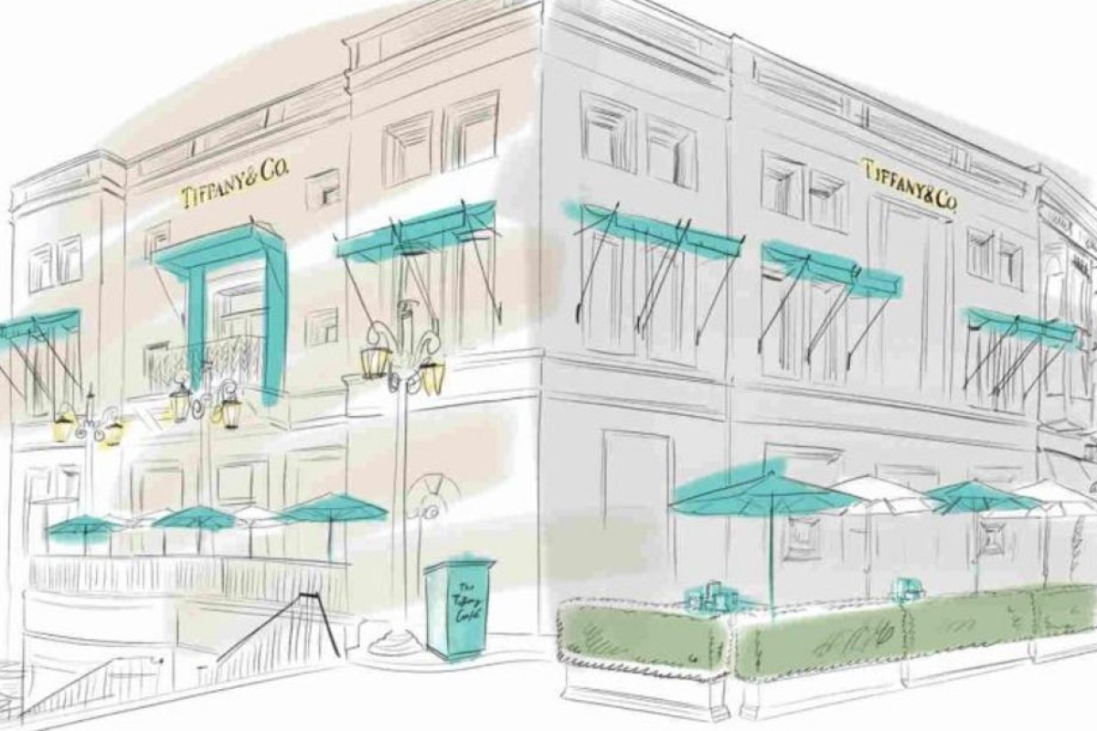 A sketch of the pop-up cafe at Tiffany's, on Rodeo Drive in Beverly Hills, Los Angeles, which will open to serve breakfast on May 4 and 5. Source: Tiffany & Co.