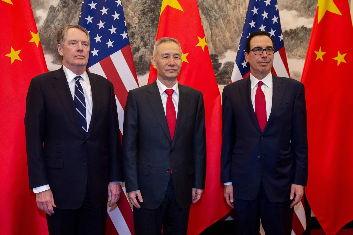 China's Vice-Premier Liu He poses for a photo with US Treasury Secretary Steven Mnuchin (right) and US Trade Representative Robert Lighthizer in Beijing on March 28. Ongoing negotiations between the US and China are reportedly nearing their end, with the possibility of Chinese President Xi Jinping signing a trade deal with US President Donald Trump floated for June. Photo: AFP
