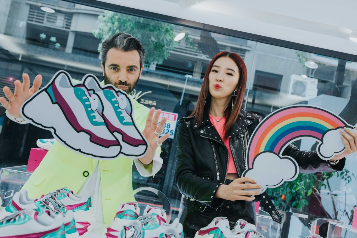 220b1c8a3 Vittorio Cordella, founder of Joshua Sanders, with influencer Irene Kim in  Taipei, Taiwan