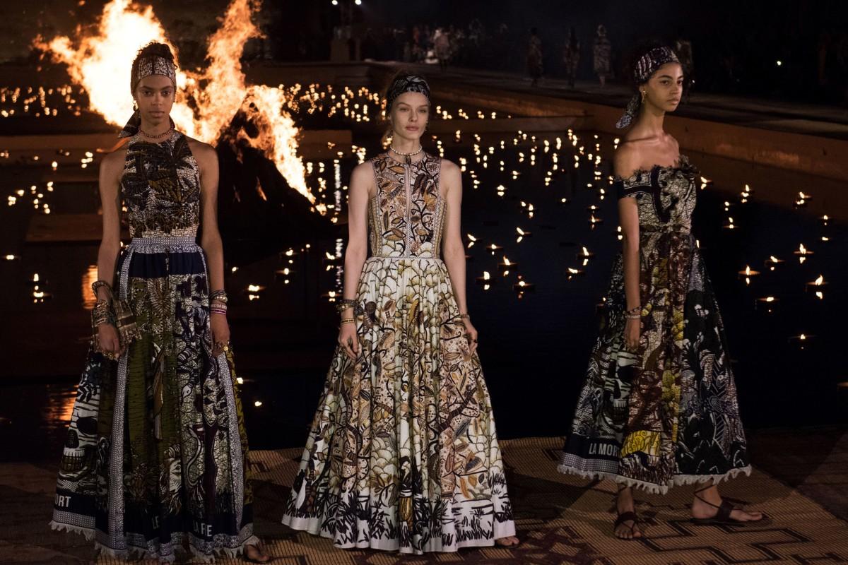 c24e5b5ed21 Models present creations from the Dior Cruise 2020 collection by Italian  designer Maria Grazia Chiuri at